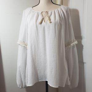 Sanctuary white drawstring peasant blouse